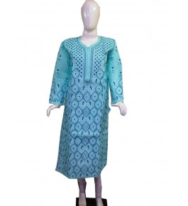 Handwoven Chikan Embroidery Work Turquoise Suit For Women By Verdan Chikan