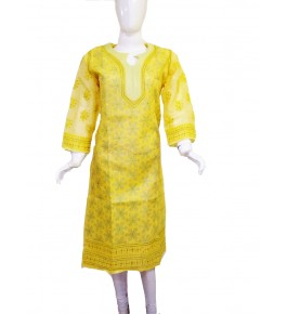 Handwoven Chikan Embroidery Work Yellow Suit For Women By Verdan Chikan