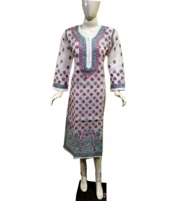 Handwoven Chikan Embroidery Work Suit For Women By Verdan Chikan