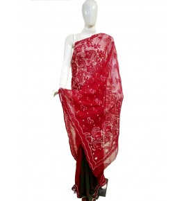 Handwoven Chikan Embroidery Work Red Saree For Women By Verdan Chikan