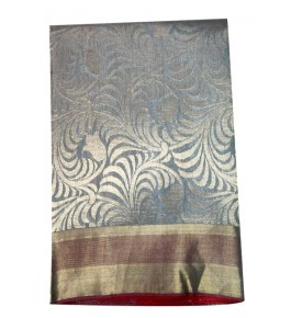 Champa Silk Handloom Grey Saree with Blouse Piece for Women