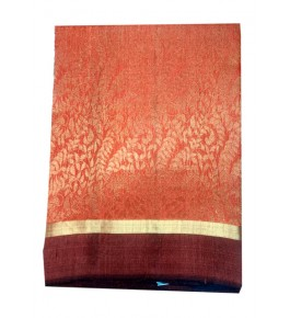 Champa Silk Beautiful Orange Saree With Blouse For Women