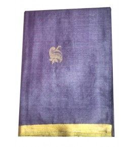 Champa Silk Beautiful Blue Saree with Golden Border With Blouse For Women