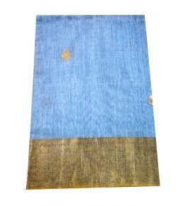 Champa Silk Beautiful Sky Blue Saree with Golden Border With Blouse Piece For Women