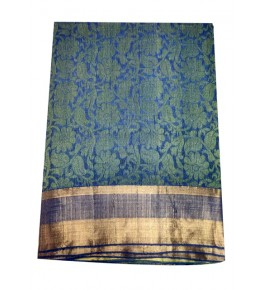 Champa Silk Flower Knitting Beautiful Turquoise Saree With Blouse Piece For Women