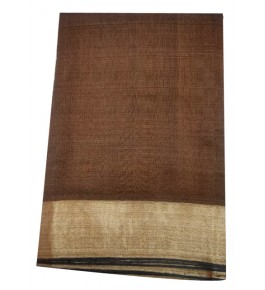 Champa Silk Brown Saree with Golden Border With Blouse Piece For Women