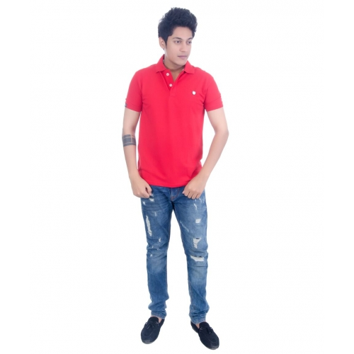 Grey Booze Red Slim Fit Polo T Shirt