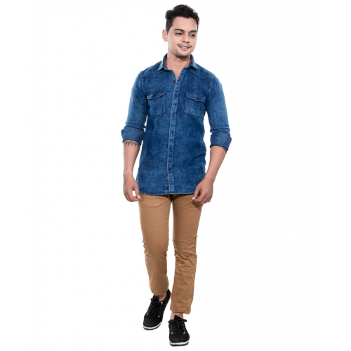 Grey Booze Blue Casual Slim Fit Shirt