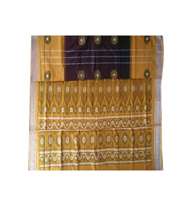Cotton Yellow and Maroon Pattern of Orissa Bomkai Saree & Fabrics