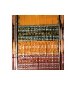 Cotton Yellow and Orange Pattern of Orissa Bomkai Saree & Fabrics