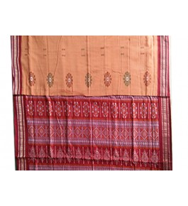 Cotton Orange and Red Pattern of Orissa Bomkai Saree & Fabrics