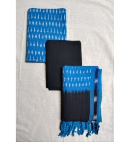 Pochampally Ikat Cotton Sky Blue & Black Suit Dress Material for Women