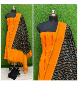Cotton Yellow & Black Pochampally Double Ikat Suit Dress Material for Women