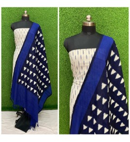 Cotton Pochampally Double Ikat White & Blue Suit Dress Material for Women