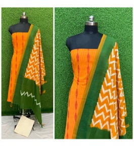 Cotton Pochampally Double Ikat Yellow & Green Suit Dress Material for Women