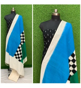 Cotton Pochampally Double Ikat Sky Blue & Black Suit Dress Material for Women