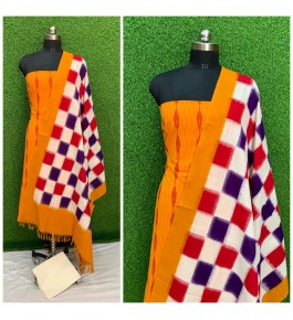 Cotton Pochampally Double Ikat Yellow & Red Suit Dress Material for Women