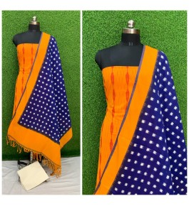 Cotton Pochampally Double Ikat Yellow & Blue Suit Dress Material for Women