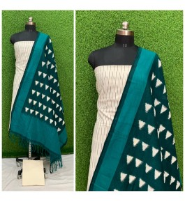 Cotton Pochampally Double Ikat White & Green Suit Dress Material for Women
