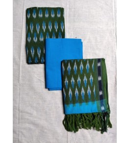 Pochampally Ikat Cotton Sky Blue & Green Suit Dress Material for Women