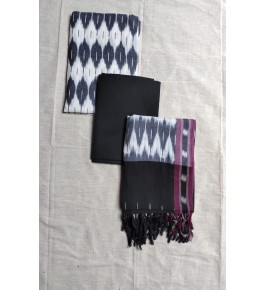 Pochampally Ikat Cotton Black & White Suit Dress Material for Women