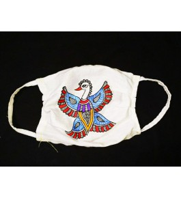 Anti Pollution Dust and Virus Protection Double Layer Reusable Cotton Half Face Ear Loop Mask  Madhubani Bird Painting Set of-4
