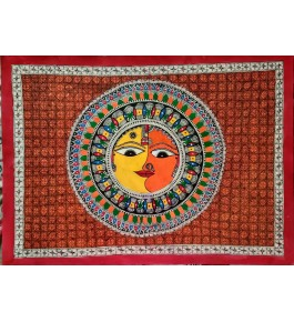 Madhubani Painting Of  Surya & Sandhya On Paper By Sita The Culture