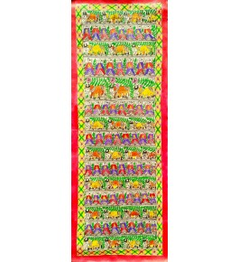 Madhubani Painting In Godhna Style On Handmade Paper