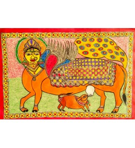 Madhubani Painting With Acrylic Color Madhubani Art Kamdhenu Cow On Handmade Paper
