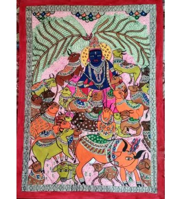 Madhubani Painting Art Krishna With Cow By Sita The Culture