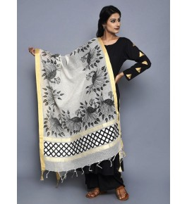 Madhubani Painting Beautiful Handmade Silk Dupatta For Women