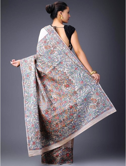 Madhubani Painting Beautiful Silk Saree With Blouse Piece By Sita The Culture