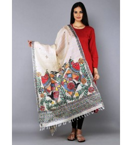 Madhubani Painting Beautiful Silk Dupatta For Women