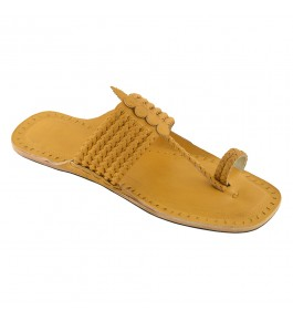 Premium Quality Breathtaking Dark Yellow Six Braided Authentic Kolhapuri Chappal/Slipper Of Maharashtra