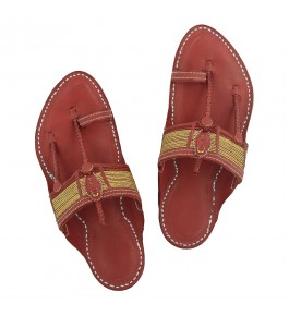 Premium Quality Authentic Traditional Design Cherry Red Kapshi Jari Kolhapuri Chappal for Men