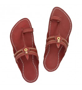 Premium Quality Authentic Kapshi Fine Braids Cherry Red Kolhapuri Chappal for Men
