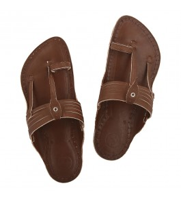 Premium Quality Beautiful Wooden Brown Lace type Kapshi Kolhapuri Chappal for Men