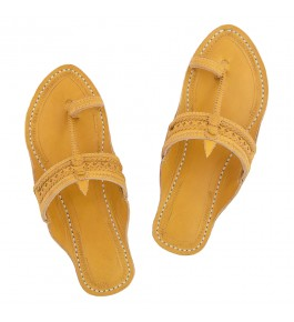 Premium Quality Beautiful Dark Yellow Star Punching Double Braids Kolhapuri Chappal for Women
