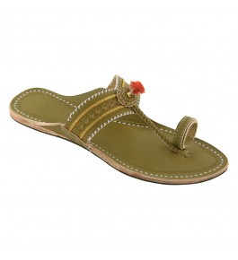 Premium Quality Antique Seaweed  V Shape Punching Flat Heel Kolhapuri Chappal for Women