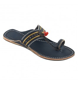 Premium Quality Antique Dark Blue V Shape Punching Flat Heel Kolhapuri Chappal for Women
