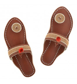 Premium Quality Beautiful Tan Base Golden and White Beads Handmade Leather Chappal for Women