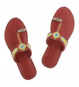 Premium Quality Beautiful Cherry Red Beads Work Handmade Kolhapuri Leather Slipper for Women