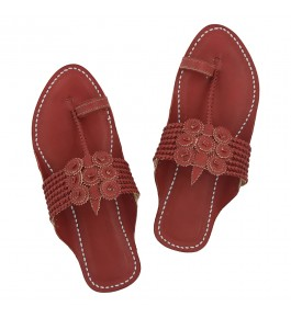 Premium Quality Awesome Cherry Red Seven Braids Handcrafted Leather Kolhapuri Sandal for Women