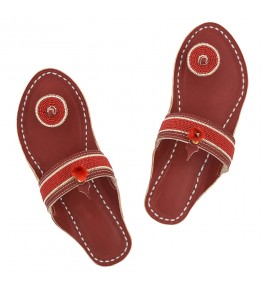 Premium Quality Attractive Red-Brown Base Awesome Beads Work Handmade Kolhapuri Leather Chappal for Women