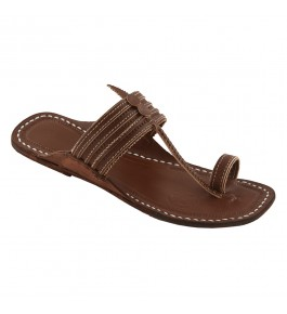 Premium Quality Attractive Wooden Brown Traditional Kolhapuri Leather Chappal For Women