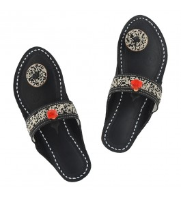 Premium Quality Beautiful Black Handmade Beads Work Kolhapuri Leather Chappal Sandal for Women