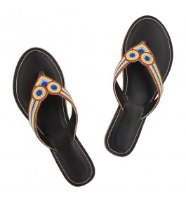 Premium Quality Breathtaking Dark Brown Base Doubel Eye Beadwork Kolhapuri Leather Flip Flop for or Women