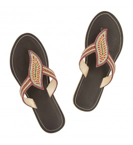 Premium Quality Beautiful Beadwork Brown Black Base Handmade Kolhapuri Chappal Flip Flop for Women