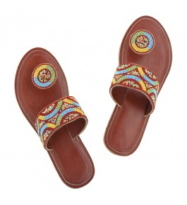 Premium Quality Breathtaking Beadwork Red-Brown Kolhapuri Leather Chappal for Women