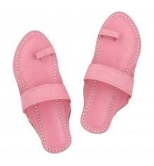 Premium Quality Baby Pink Stylish Handcrafted Leather Chappal Sandal for Women